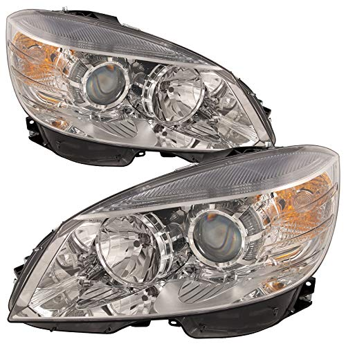 PERDE Replacement Fits Headlights Set Halogen Chrome w/Performance Lens Driver Left Right Passenger Fits Mercedes C-Class W204 C63/C300/C350 (Build Date ()