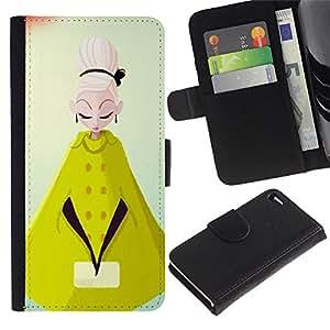 Be-Star la tarjeta de Crédito Slots PU Funda de cuero Monedero caso cubierta de piel Para Apple Iphone 4 / 4S ( Cape Gabardine Mustard Yellow Fashion Woman )