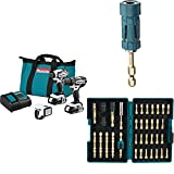 Makita CT322W 18V LXT Lithium-Ion Compact Cordless 3-Pc. Combo Kit (1.5Ah) with B-35097 Impact GOLD Ultra-Magnetic Torsion Insert Bit Holder with B-52370 Impact GOLD 38 Pc. Torsion Bit Set
