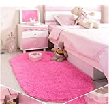 Ikeelife® Silk Woollen Washable Princess Dream Soft Silky Mat Home Bedroom Round Shaggy Plain Oval Area Rugs Super Soft Bedroom Carpet GIFT with a Heart Rug, 7 Sizes, Rosy 50x80CM/19.7x31.5""