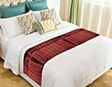 NNBZ Custom Old Red Barn Wood Door Bed Runner Cotton Bedding Scarf Bedding Decor 20x95 inches