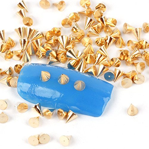JSMeet Metalic Nail Art Decoration by 100pcs 3mm Cone Metalic Silver Gold Color Spike Studs Nail Art Tiny Stick (Gold)