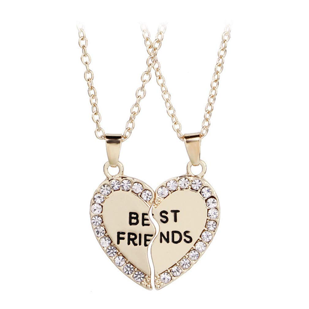 SONGLIN 2 Pcs/Set Girls Best Friends Pendant Friendship Necklace,Golden