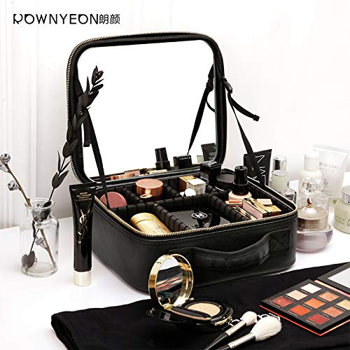 Rownyeon Makeup Train Case with Mirror Portable 10inch Cosmetic Organizer Professional Makeup Bag with Adjustable Dividers for Cosmetics Makeup Brushes and Toiletry Jewelry Digital Accessories