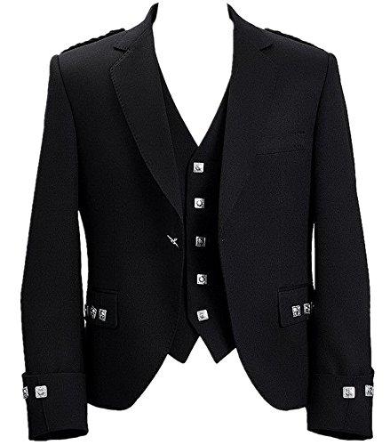 (Mens Scottish Argyle Kilt Jacket With Vest (48R, Black))