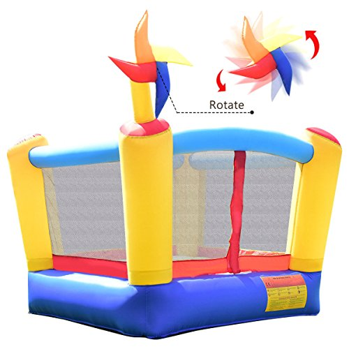 - Costzon Inflatable Bounce House, Moonwalk Jumping Bouncer W/ Rotating Windmill Without Blower