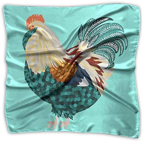 Chicken Rooster Animals Women's Large Square Satin Headscarves Silk Like Neckerchief