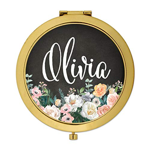 - Andaz Press Personalized Gold Compact Mirror Bridesmaid's Wedding Gift, Peach Flower Florals on Chalkboard, Custom Name, 1-Pack, Bespoke Bachelorette Bridal Shower Wedding Party Gifts