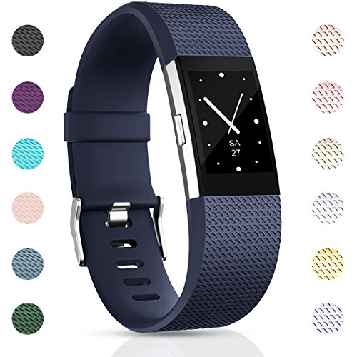 Maledan Replacement Bands Compatible with Fitbit Charge 2 for Women Men, Blue, Large