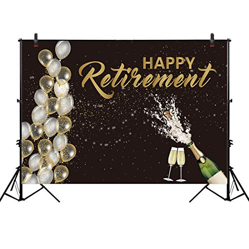 Personalized Balloons With Photo (Allenjoy Fabric 8x6ft Happy Retirement Backdrop for Party Event Decorations Photography Pictures Champagne Balloon Officially Congrats Retire Background Themed Prom Ceremony Decor Banner Photo)