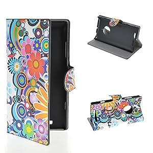 SOLIDERT [001] [Flor colorida] Hermosa tirón del patrón Monedero Funda Folio Cubierta para Nokia Lumia 830