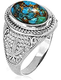 14K White Gold Marijuana Weed Blue Copper Turquoise Ring