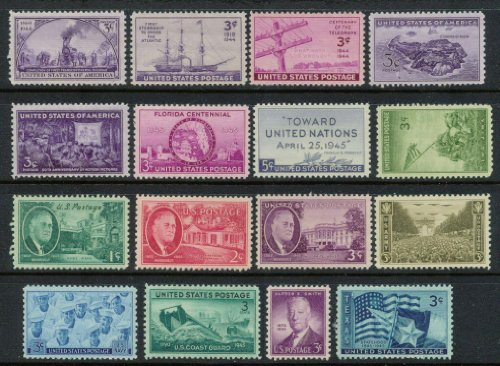 Complete set of US Commemorative Stamps issued in 1944 and 1945 Mint, Never-hinged Army Navy Marines Coast Guard Texas and more