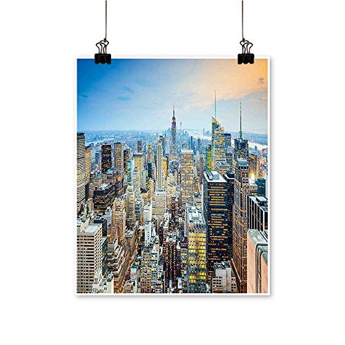 (Single paintingYork City Aerial with Skyscrapers Manhattan Urban Architecture Panorama Silver Blue Peach Office Decorations,12