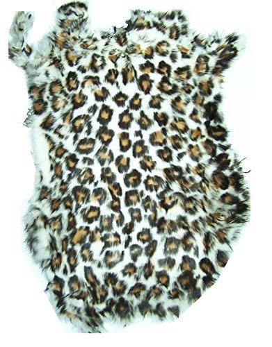 Leopard Print Tanned Rabbit Fur Hide (10