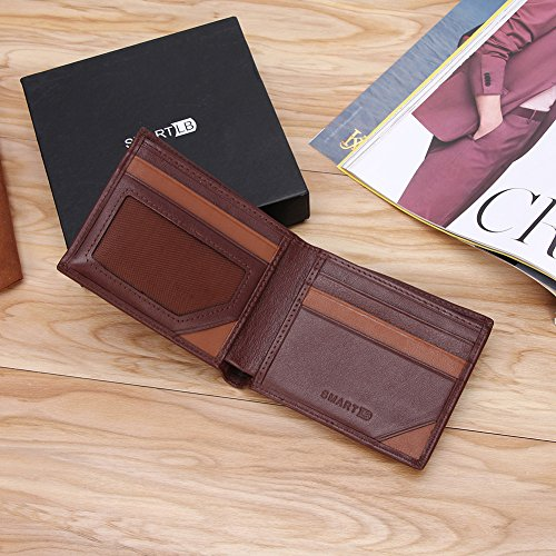 Bifold Tracking Smart lost Men Anti Brown Wallet Cowhide Modoker Leather Wallet OqpUww