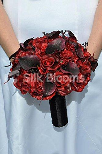 Dark Red Rose Black Calla Lily Gothic Bridal Wedding Bouquet