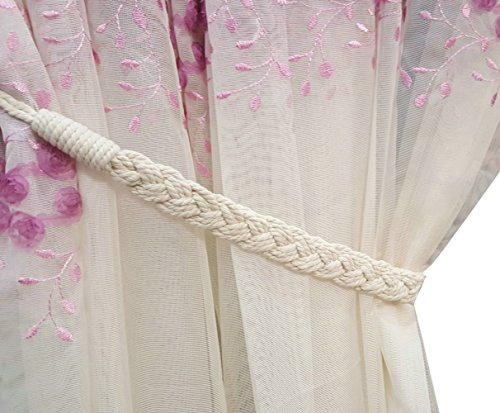 Shinywear Set of 2 Vintage Natural White Cotton Knited Weave Curtain Ropes Drapery Tieback 26″Long