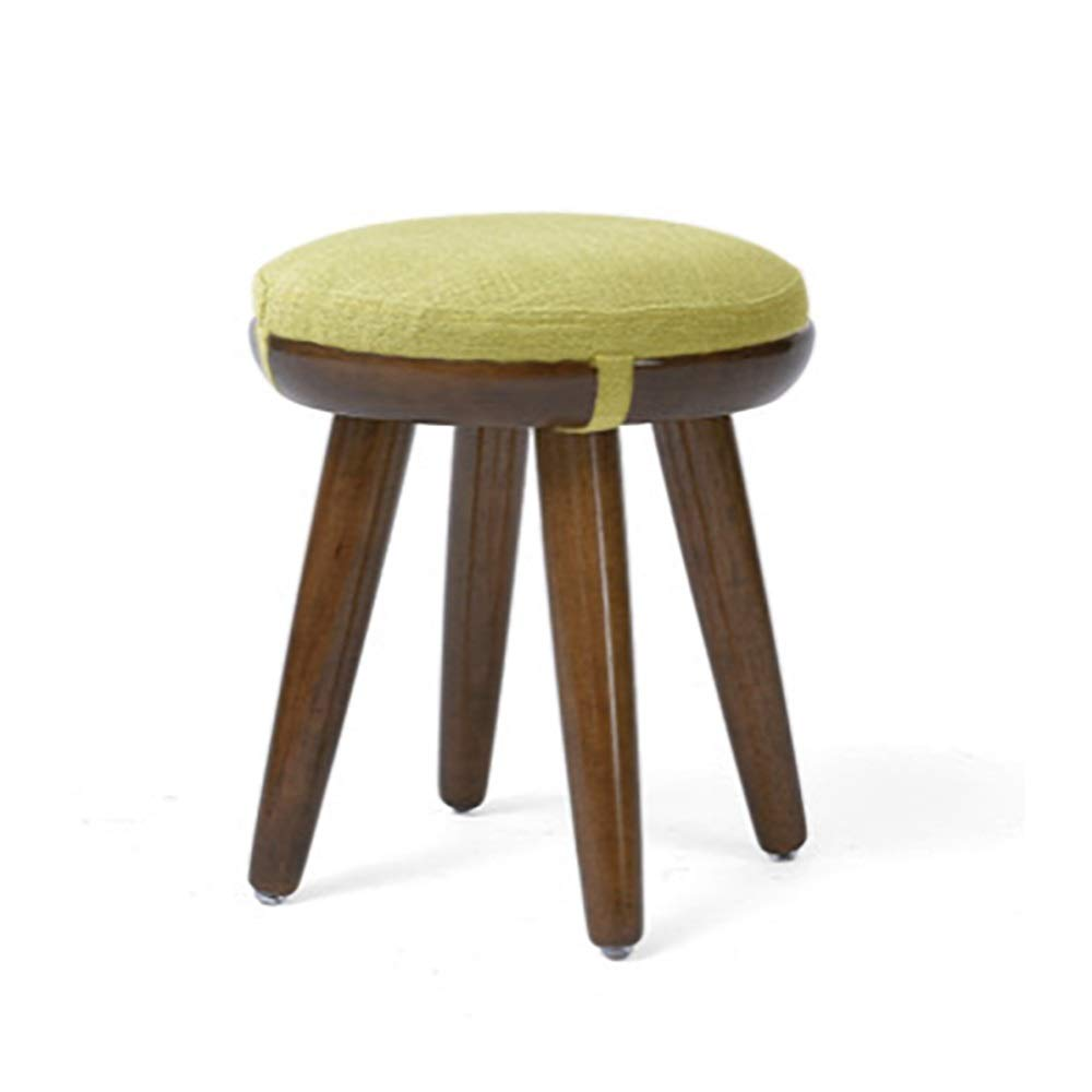 Small ZHILIAN& Round Solid Wood Stool Multifunctional Coffee Table Stool Dining Stool Creative Walnut Ribbon Removable Linen Bench Cover (Size   S)