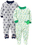 Simple Joys by Carter's Baby Boys' 2-Pack Cotton Footed Sleep and Play, Dino/Sports, 6-9 Months