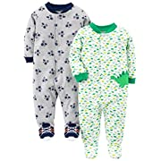 Simple Joys by Carter's Baby Boys' 2-Pack Cotton Footed Sleep and Play, Dino/Sports, 0-3 Months