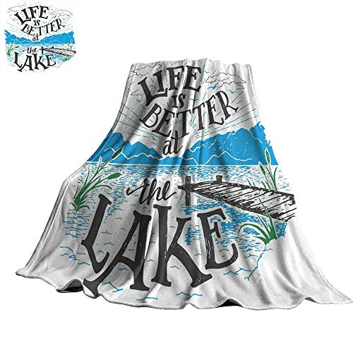 WinfreyDecor Cabin Decor Queen Size Home Throw Blanket Life is Better at The Lake Wooden Pier Plants Mountains Outdoors Sketch 50