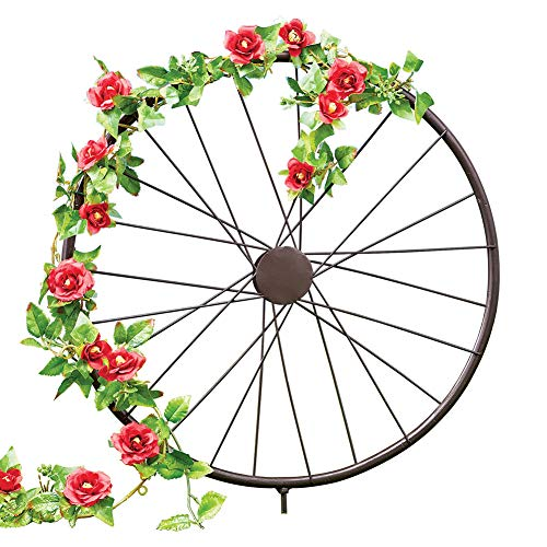 Collections Etc Charming Rustic Wagon Wheel Trellis, Metal Garden Stake Year Round Accent