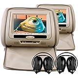 """Sonic Audio HR - 7–2 x 7 """"Style cuir-Beige/multimédia DVD avec appuie-Tête CASQUE INFRAROUGE IR 2 x"""