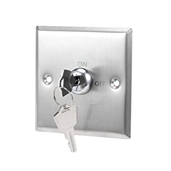 uxcell Key Switch On-Off Exit Switches Emergency Door Release DPST for Access Control Panel Mount with Keys