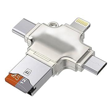 SODIAL Lector de Tarjetas de Memoria 4 en 1, Lector de Tarjetas Micro-SD/TF con relampago, USB C, Interfaces USB y Micro-USB, Lector de Tarjetas ...