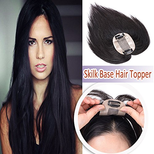 """14"""" Human Hair Toppers for Women Thin Clip in on Top Hairpiece Silk Base Natural Toupee for Thinning Hair #1 Jet Black"""