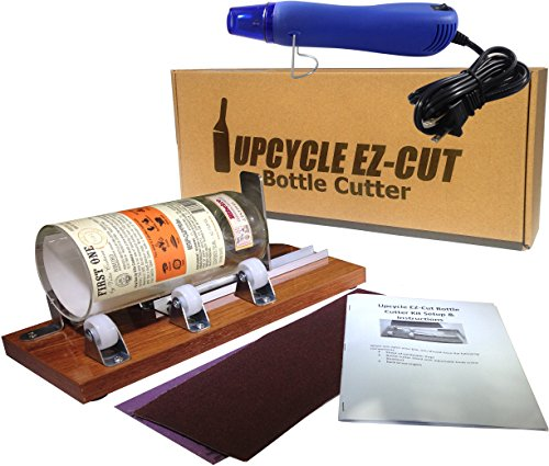 Glass Bottle Cutter (Deluxe) Kit, Upcycle EZ-Cut: Beer & Wine Bottle Cutting + Edge Sanding Paper & Heat Tool