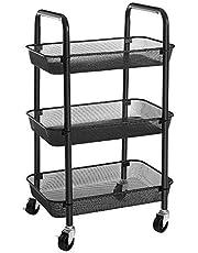 SONGMICS Wózek, wózek kuchenny z 3 poziomami, wykonany z metalu, półka kuchenna, wózek do serwowania, z 2 hamulcami, z uchwytami, łatwy montaż, do łazienki, kuchni i biura, czarny BSC062B01