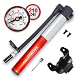 DOKO-IN Mini Bike Pump with Gauge, Frame Mount Bicycle Pump with Flexible Hose, Presta Schrader Compatible Tire Bike Pump, 210 PSI Capacity, 1 Year Warranty