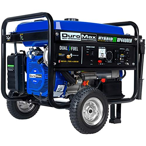 DuroMax XP4400EH Dual Fuel Portable Generator-4400 Watt Gas or Propane Powered-Electric Start- Camping & RV Ready, 50 State Approved