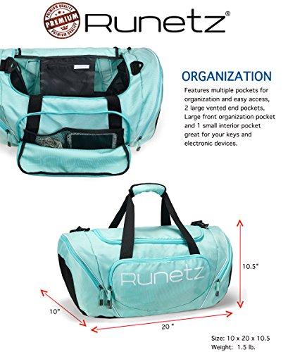 b78f8ee4b42c Runetz - TEAL Hot Blue Gym Bag Sport Shoulder Bag for Men   Women Duffel 20