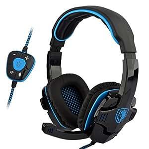 SADES Professional USB PC Gaming Headset with Mic & Remoter (SA-901 Black + Blue)