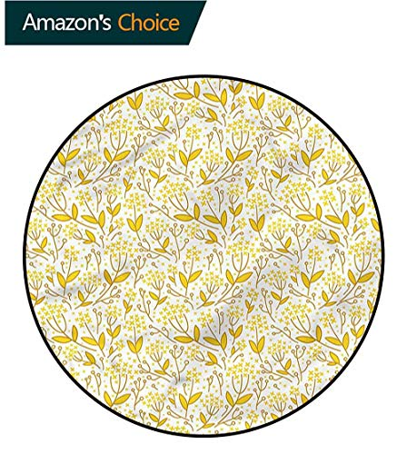 RUGSMAT Yellow and White Round Kids Rugs,Doodle Leaf Berry Foam Mat Living Room Decor Round-35