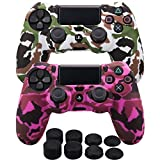 ice white 3ds - MXRC Silicone rubber cover skin case anti-slip Water Transfer Customize Camouflage for PS4/SLIM/PRO controller x 2(white & pink) + FPS PRO extra height thumb grips x 8