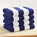 Great Bay Home 4-Pack 100% Cotton Plush Cabana Stripe Velour Beach Towel (30x60) Brand. (Navy)