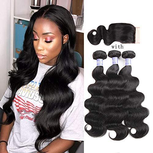 (Sayas Hair 10A Grade Human Virgin Hair Bundles With 4x4 Free Part Lace Closure Brazilian Body Wave Hair 3 Bundles 100g(3.5oz)/Bundle With 33g(1.2oz) Lace Closure (16 18 20+16) Inch Total 333g(11.7oz))