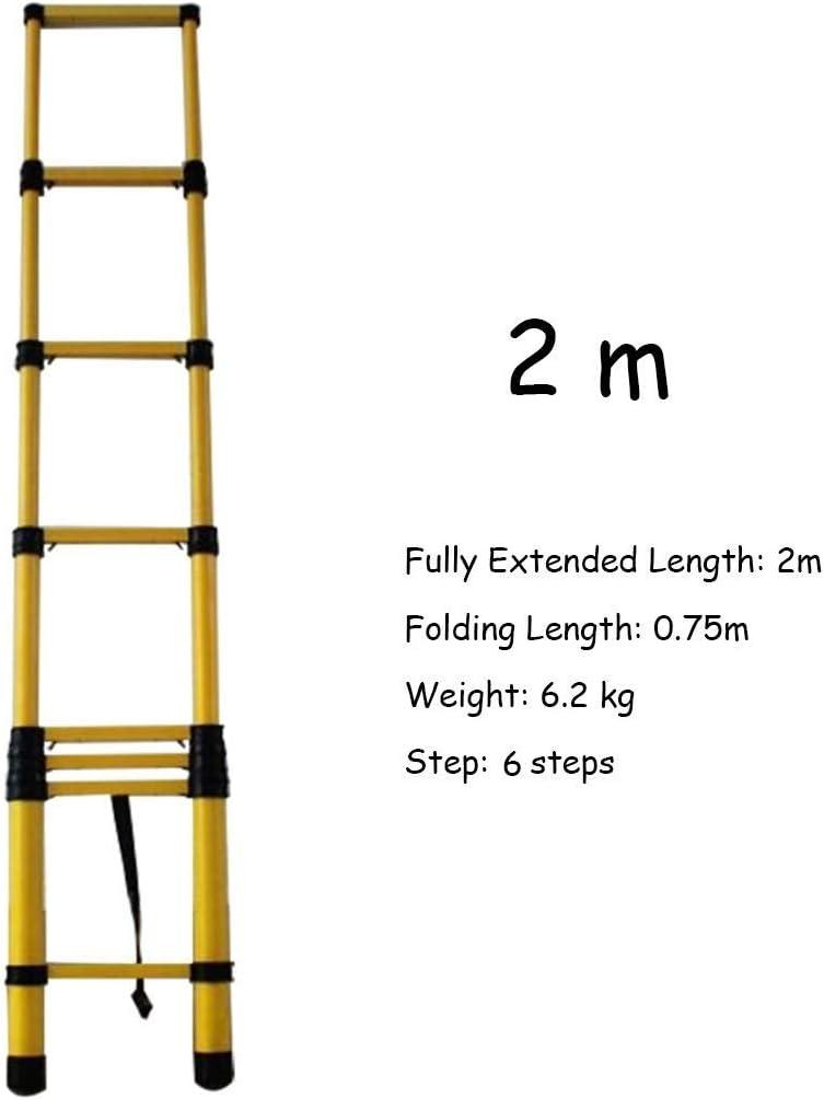 Escalera extensible Escalera telescópica Escalera telescópica de aislamiento de electricista de 2M / 3M / 4M for ático / Techo / Loft, Escalera de extensión de servicio pesado de fibra de vidrio