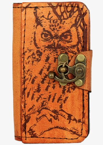 Owl Decoration Iphone 4 4s Case Handmade Vintage Style Real Genuine Leather Cover Wallet Hardcover Side Flip Case for Iphone 4/4s Cover Brown with Lock (Vintage Owl Iphone 4 Case compare prices)