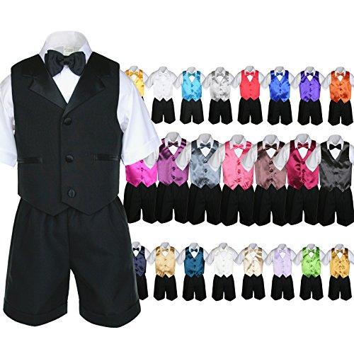 Unotux 6pc Baby Boy Black Formal Bow Tie Shorts Suit Extra Vest Bow Tie Set S-4T (2T, White)
