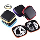 Miniko(TM) [5-Pack] Carrying Travel Cases Bag Organizer Pouch with Zipper for Earphone iPod MP3 Bluetooth Headset Headphone Earbud Charging Cable, Square Shape