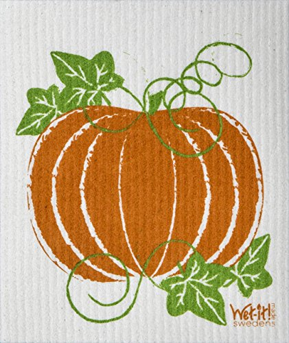Swedish Treasures Wet-it! Cleaning Cloth, Pumpkin Patch, Super Absorbent, Reusable, Biodegradable, All-purpose