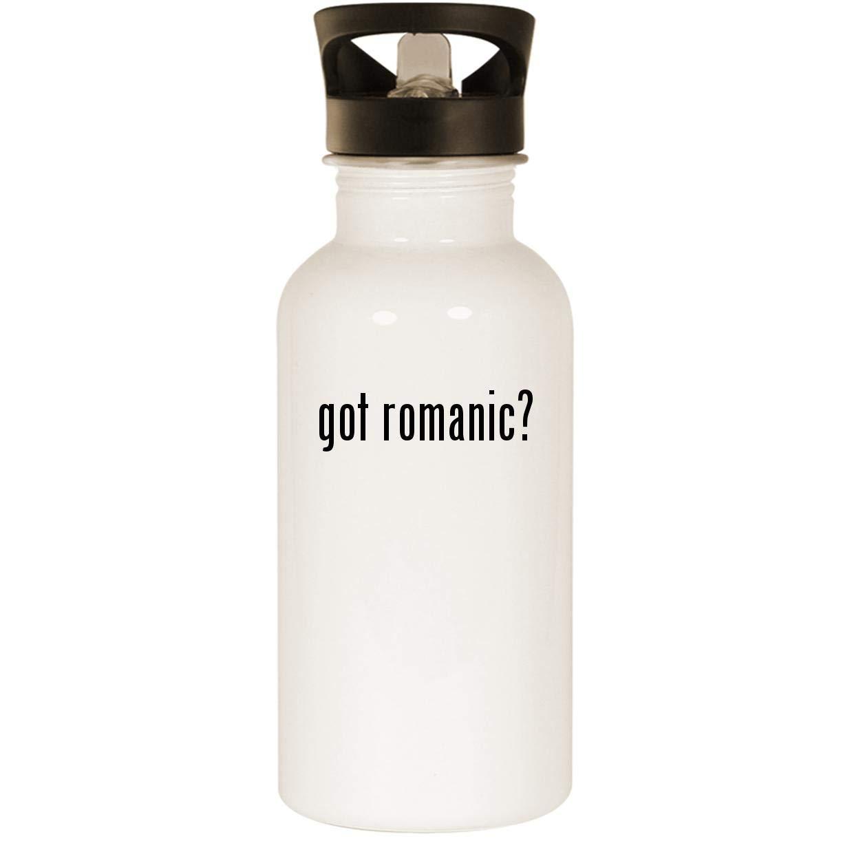 got romanic? - Stainless Steel 20oz Road Ready Water Bottle, White
