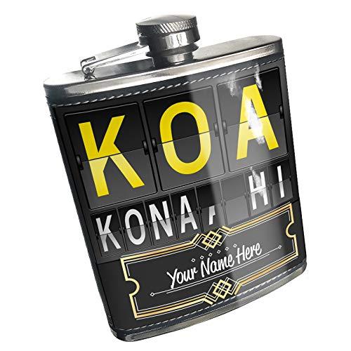 Neonblond Flask KOA Airport Code for Kona, HI Custom Name Stainless Steel (Kona Stainless Steel Flask)