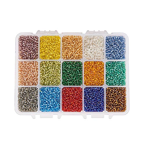 PH PandaHall About 500pcs 15 Color 8/0 Glass Seed Beads 3mm Silver Lined Beads with Container Box for Jewelry Making -