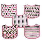 Neat Solutions 5 Pack Graphic Print Interlock Feeder Bib, Girl (Discontinued by Manufacturer)
